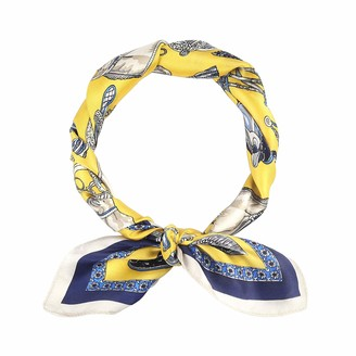 Houlife Ladies 100% Satin Silk Scarf Small Square Pattern Print Neck Scarf Vintage Neckerchief for Women Girls Clothing Accessory 53x53cm