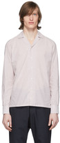 eidos Burgundy and White Stripe Open Collar Shirt