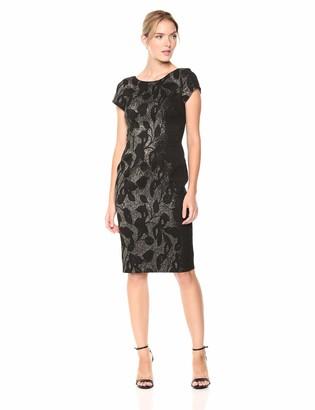 Adrianna Papell Women's Short Sleeve Metallic Jacquard Scoop Back Dress
