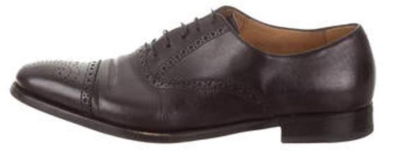 444d28eed6e Leather Semi-Brogue Oxfords black Leather Semi-Brogue Oxfords