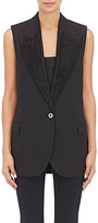 Lanvin WOMEN'S MOIRÉ-LAPEL JACQUARD SINGLE-BUTTON VEST-BLACK SIZE 36 FR