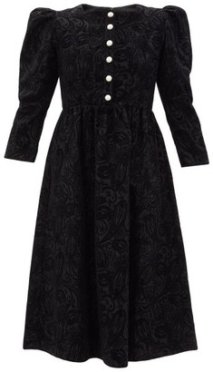 Batsheva Square-neck Paisley Flocked Wool Midi Dress - Black