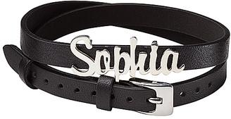 Limoges Jewelry Women's Necklaces SILVER - Sterling Silver Script Name Leather Wrap Bracelet/Choker