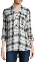 Self Esteem Long-Sleeve Plaid Lace-Up Shirt - Juniors