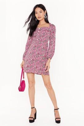 Nasty Gal Womens Plant Pin Me Down Floral Mini Dress - Black