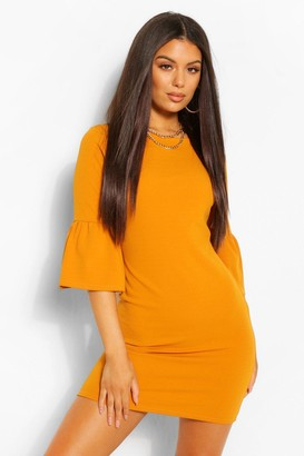 boohoo Ruffle Sleeve Fitted Waist Shift Dress