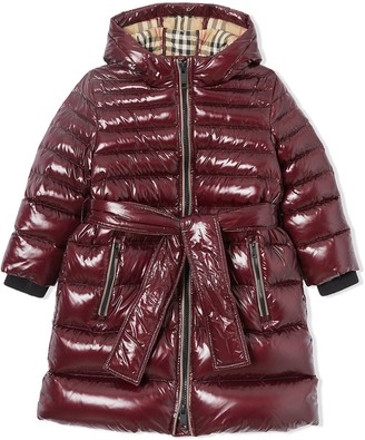 BURBERRY KIDS TEEN Icon stripe detail down-filled hooded puffer coat