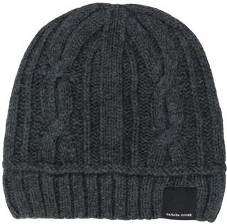 Canada Goose Logo Cable-Knit Beanie Hat