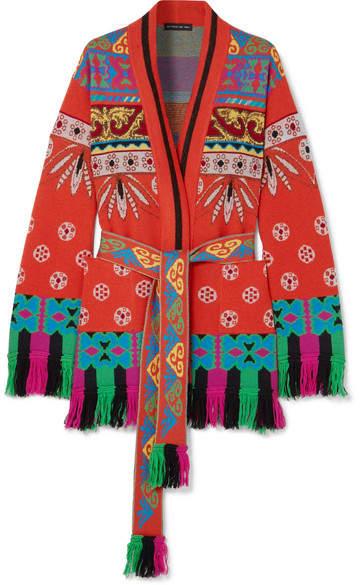 Etro Fringed Wool-blend Jacquard Cardigan - Orange