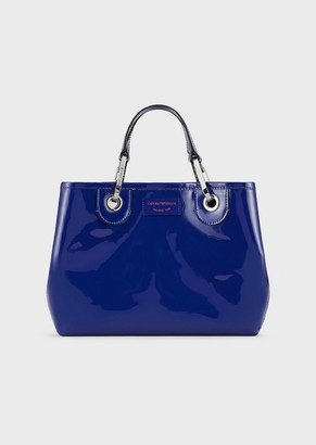 Emporio Armani Myea Bag Small Shopper In Patent Leather