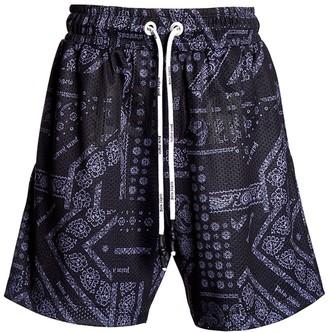 Palm Angels Black Bandana Print Mesh Shorts