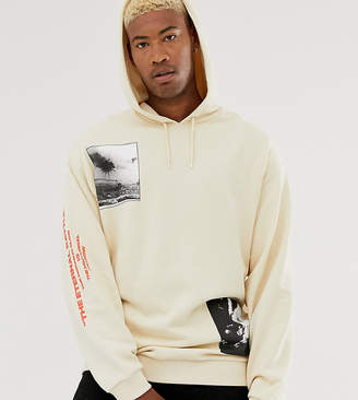 Asos Design DESIGN Tall oversized hoodie in off white with multiplacement photographic print-Beige