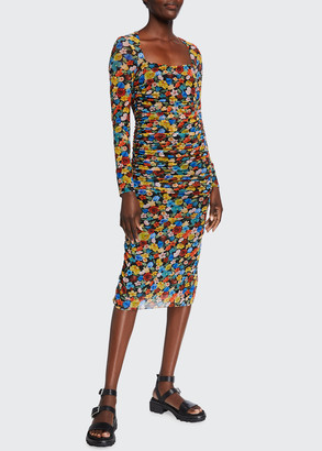 Ganni Floral-Print Long-Sleeve Shirred Mesh Dress