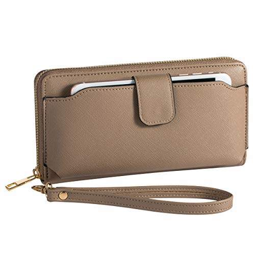 brand new a01e9 47862 Heaye Women Wristlet Wallet with Cell Phone Holder RFID Blocking Zip Around  Wallet PU
