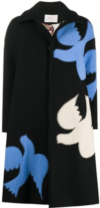 La DoubleJ Bird Applique Wool Coat