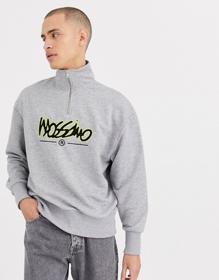 Mossimo Relaxed Funnel 1/4 zip sweatshirt in gray