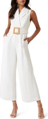 Ever New Belted Linen Blend Jumpsuit