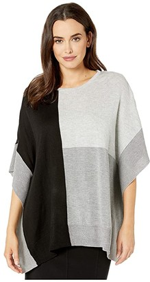 Calvin Klein Color Block Crew Neck Poncho (Black/Heather Grey) Women's Clothing