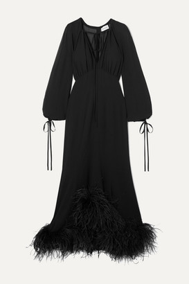 16Arlington Davis Tie-neck Feather-trimmed Chiffon Gown - Black