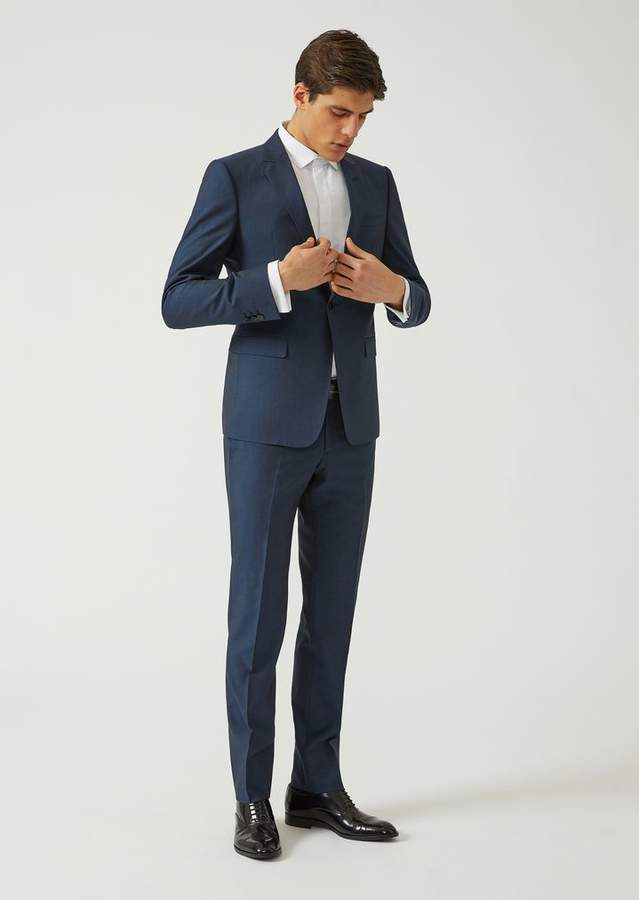 Emporio Armani Slim Fit Suit In Tropical Wool And Silk