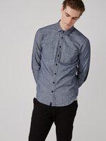 Frank + Oak Heavy Twill Flannel Shirt in Blue