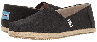 Toms Seasonal Classics (Black Washed Canvas Rope Sole) Women's Slip on Shoes
