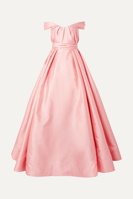 Reem Acra Off-the-shoulder Pleated Mikado Gown - Pastel pink