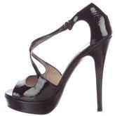 Saint Laurent Patent Leather Crossover Sandals