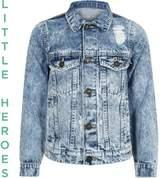 River Island Boys blue wash distressed denim jacket