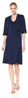 Maya Brooke Women's Flounce Jacket Dress Embroidered Trim