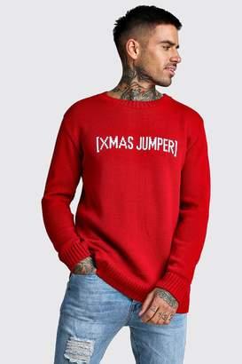 boohoo Slogan Knitted Christmas Jumper