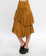 Flying Tomato Camel Faux Suede Tiered Asymmetrical Skirt