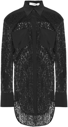 Givenchy Crepe-paneled Cotton-blend Lace Shirt
