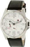 Tommy Hilfiger White Dial Black Leather Strap Mens Watch 1791007