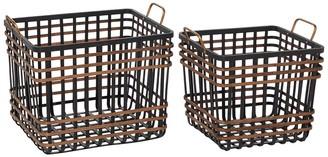 "Willow Row Medium Rectangular Black Bamboo And Antique Gold Metal Basket With Handles - Set Of 2: 14"" - 24"""