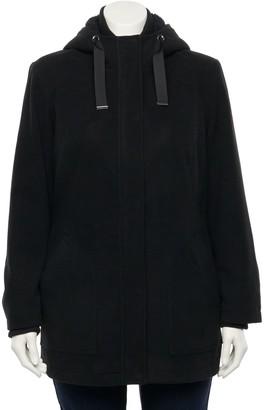 Details Plus Size Hooded Zip-Front Faux Wool Jacket