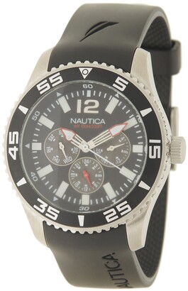 Nautica Men's Stainless Steel Silicone Strap Watch, 44mm