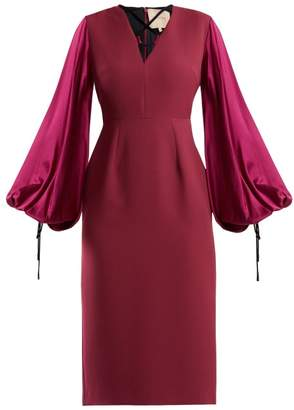 Roksanda Darya Blouson Sleeve Crepe Dress - Womens - Purple