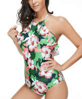Red Velvet Women's One Piece Swimsuits GREEN - Green Floral Ruffle Halter One-Piece - Women & Plus