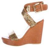 Stuart Weitzman Embellished Wedge Sandals