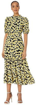 Donna Morgan Short Ruffle Sleeve Georgette Dress with Tiered Skirt and Ruffle Neck (Yellow/Black) Women's Clothing