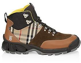 Burberry Men's Mixed-Media Vintage Check Hiking Boots