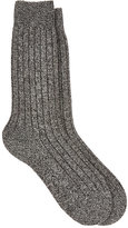 Barneys New York Men's Rib-Knit Cashmere-Blend Socks-DARK GREY