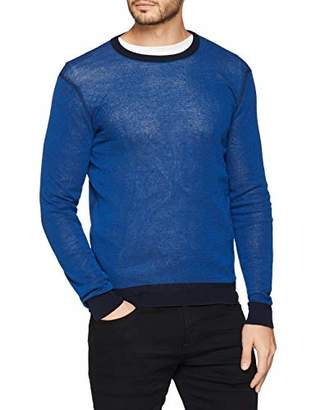 Trussardi Jeans Men's Round Neck Long Sleeves Bicolor Pure Cotton Crepe Slim Fit Jumper, U270-Imperial Blue U270, L