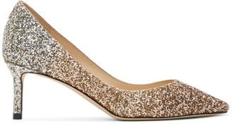 Jimmy Choo Rose Gold and Gold Degrade Glitter Romy 60 Heels
