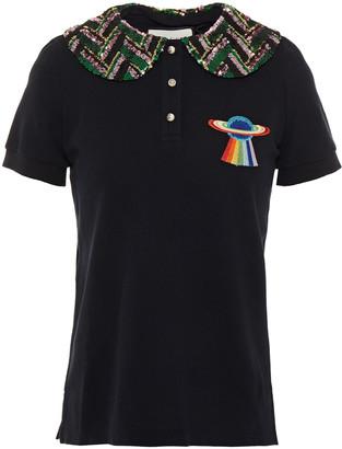 Gucci Embellished Cotton-pique Polo Shirt