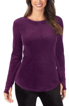 Cuddl Duds Double Plush Velour Long-Sleeve Crewneck Top
