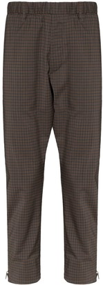 Prada zip-up checked straight trousers