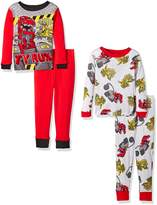 DinoTrux Boys' Toddler Boys' 4-Piece Cotton Pajama Set with Dino