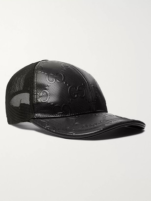 Gucci Logo-Embossed Leather And Mesh Baseball Cap